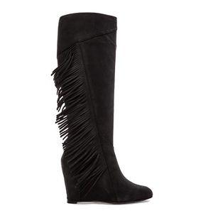 New Koolaburra Paradis Black Fringe Knee-High Boot
